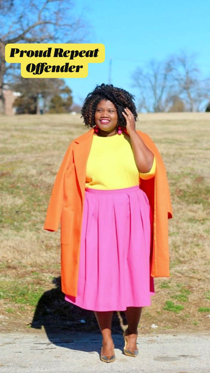 Picture of a color block outfit with a yellow top, a pink pleated midi, an orange coat and metallic shoes Orange Outfits, Colourful Outfits, Colorful Clothes, Curvy Fashion, Modest Fashion, Plus Size Fashion, Fashion Outfits, Bold Fashion, Fashion Vintage