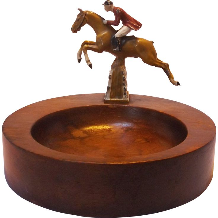 Vintage Cold Painted Steeple Chase Horse and Rider Dresser Valet