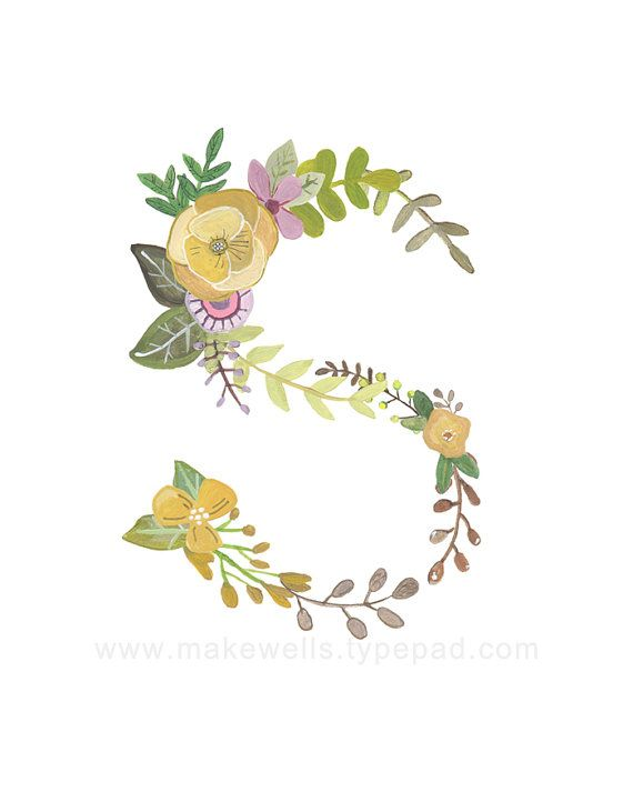S Floral Print by Makewells on Etsy