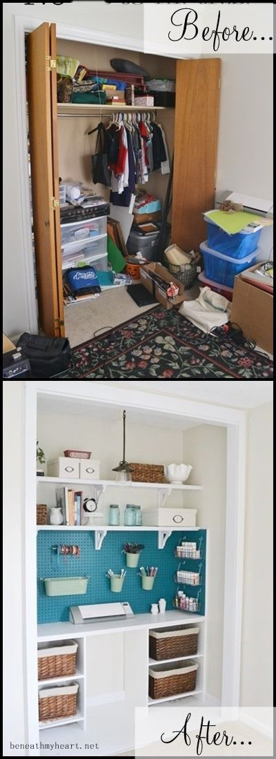 Organization is key to any good crafting project and if your closet looks like a tornado has gone through it, it may be time to consider a redo. This great craft closet transformation comes from Shanty 2 Chic and is a must for any avid crafter. Everything is so organized and there is a spot to...
