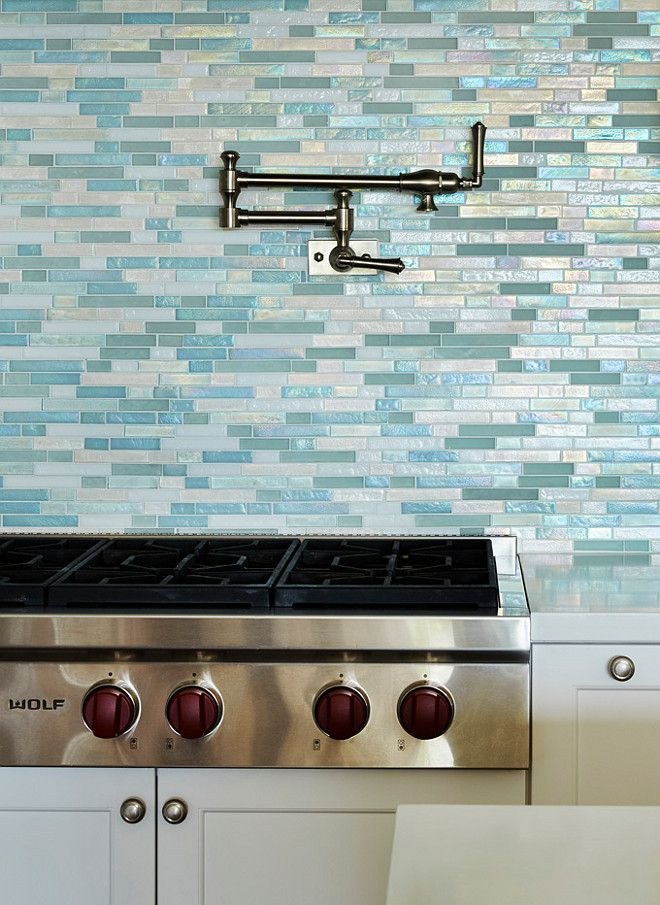 Beach House Kitchen with Turquoise Tile. Coastal Style Kitchens