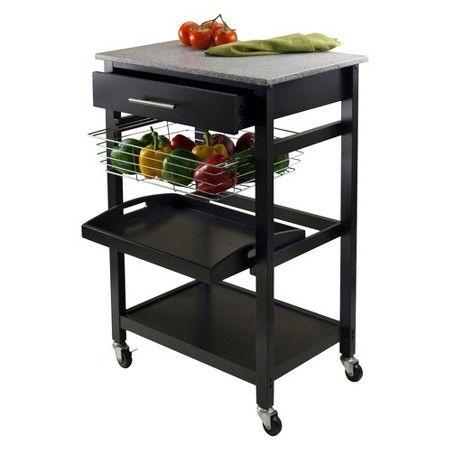 Julia Granite Top Kitchen Cart Wood/Black - Winsome : Target
