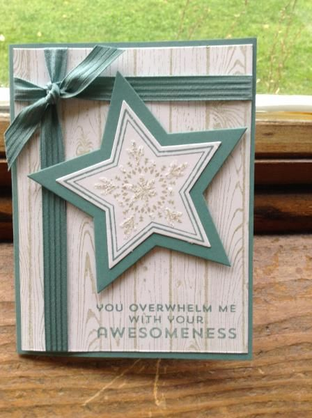 Stampin' Up! ... handmade card: Awesome Stars ... white, dove gray and dusty teal ... woodgrain stamped background ... stamped and die cut layered star ... probably a congratulations card ... great look!