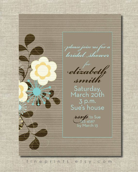 modern aqua and brown floral invitation - bridal shower, baby shower, or birthday party invitation