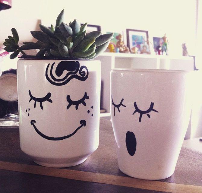 Vaso com rosto pintado com caneta permanente. Para plantar suculentas e decorar com criatividade!