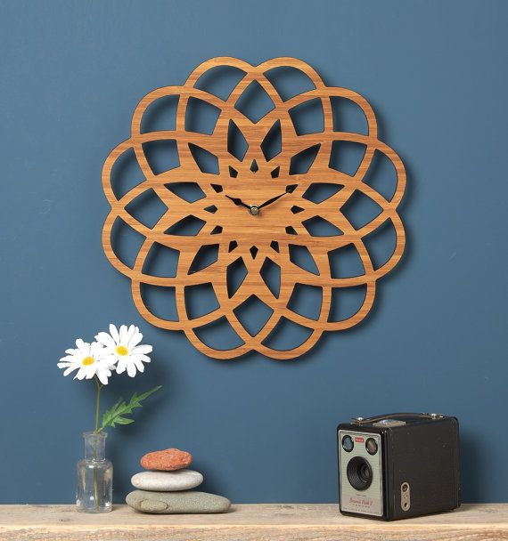 Large Modern Geometric Clock - Modern Wall Clock - Designed and Laser Cut by Owl & Otter