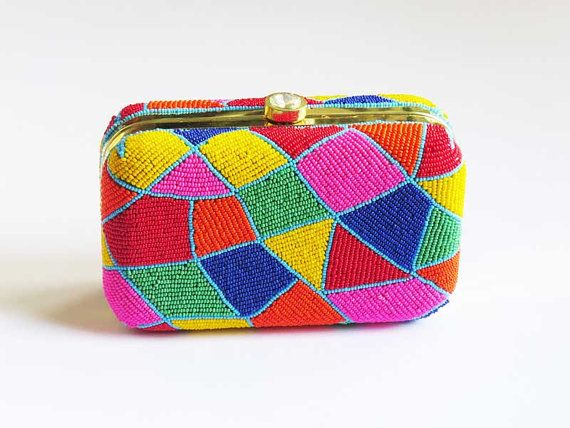 Unique and amazing geo pattern Geometric mosaic pattern BEADED BOX CLUTCH bag. This colorful handmade clutch bag will surely brightens your outfit.