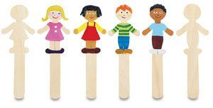Creativity Street Wood Craft Stick Shapes - People, Pkg of 36 by Creativity Street. $7.75. This package of 18 boy and 18 girl shapes is ready to come alive as children decorate them. The possibilities are endless as they use markers, paint, yarn, glitter, and more. Use them in geography and cultural diversity lessons.