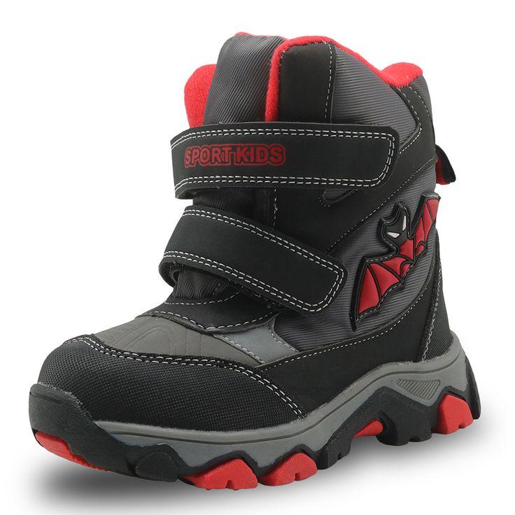 Children Little Big Kids Snow Boots PU Leather Waterproof Kids Winter Shoes Resistance Boys Snow Boots EUR 27-32 #Affiliate