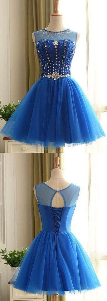 Short Prom Party Dress Beautiful Royal Blue Homecoming Dresses With Round Lace Up Rhinestone Dresses WF02G51-323