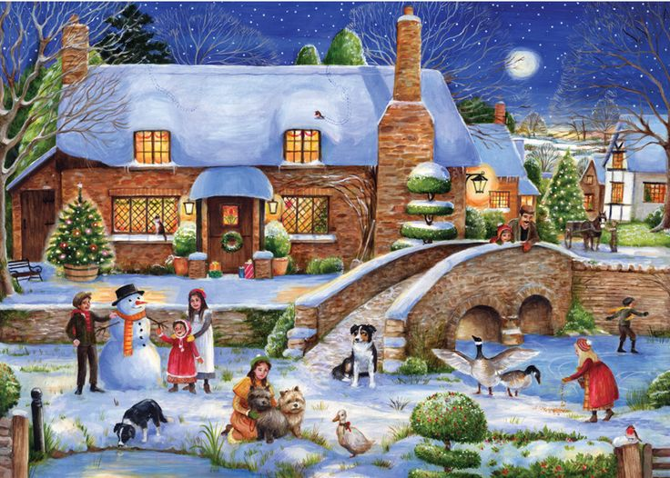"""Idyllic Christmas - 1000 piece Christmas jigsaw puzzle. Finished size: 27"""" x 20"""". Released January 2013.   Cut from high quality recycle green board, and packaged within a shrink-wrapped box. Strong pieces that won't break. Grained paper ensures a glare-free picture. Ravensburger's cutting perfection results in precision interlocking."""