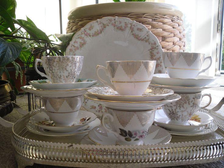 vintage bone china tea cups and saucer trio tea set mix & match Floral tea set