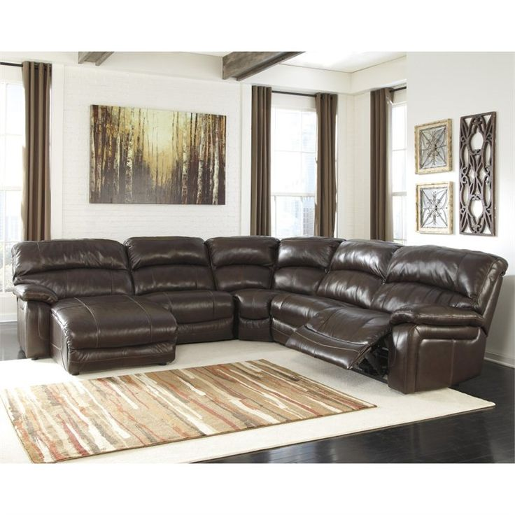 ashley furniture damacio 5 piece leather reclining sectional in brown - Sectional Leather Sofas