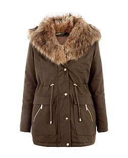 Khaki Wide Faux Fur Collar Hooded Parka  | New Look