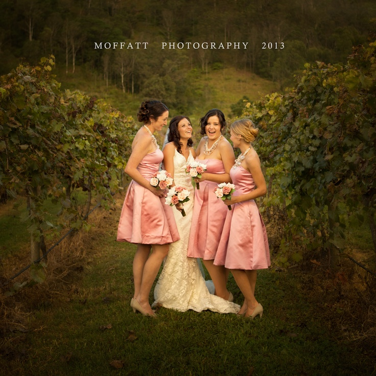 Ashleigh with her bridesmaids during her beautiful wedding at O'Reilly's Winery.