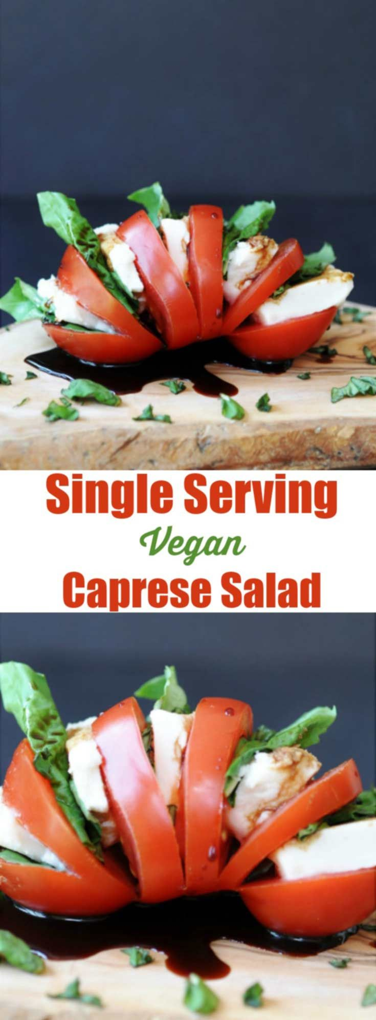 Single Serving Vegan Caprese Salad! This delicious and simple recipe makes the perfect lunch or appetizer for one. All you need is a tomato, some vegan mozzarella, basil, and balsamic vinegar. www.veganosity.com