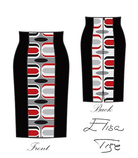 I combined in this skirt the three classics: red, black and white and gave also a classic shape as you can see. I made the sideways black fo...
