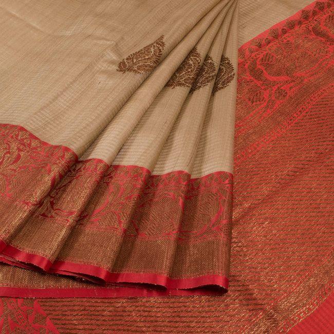 Handwoven Biege Banarasi Kadhwa Tussar Silk Saree With Floral Butis 10013355 - AVISHYA.COM