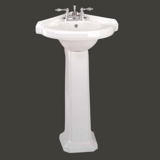 """""""Portsmouth"""" White China Corner Pedestal Sink 4"""" Center Faucet Self-Draining Soap Dish Backsplash Open-Back Easy Clean and Install Scratch and Stain Resistant Finish Renovator's Supply Original"""