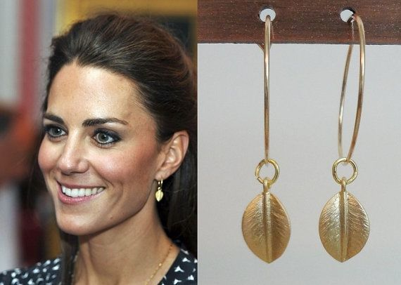 Kate Middleton Inspired Large Hoop Leaf Earrings by tudorshoppe, $12.00