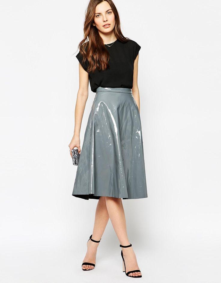 Glamorous Patent Midi Skirt