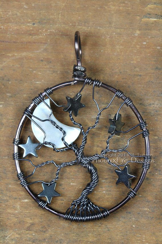 Gunmetal Crescent Moon and Stars Tree of by PhoenixFireDesigns, $65.00