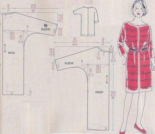 Pattern Draft: Easy To Make Dress In 3 Sizes. http://club.osinka.ru/topic-163335?p=16844152#16844152