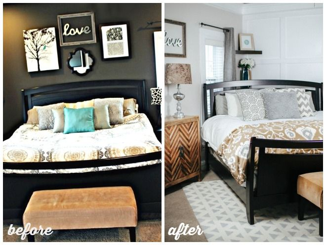 I like the idea of trying the bed on an angle master bedroom makeover before and after home Master bedroom corner decor