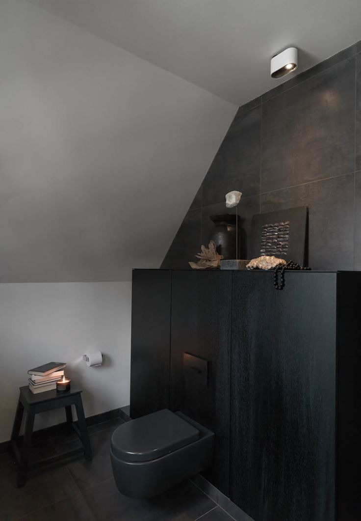 Black in black bathroom interior from Multiform. We especially like the black toilet.