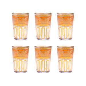 Orange Moroccan Tea Glasses - Set of 6