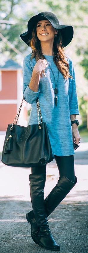 Light Blue Space Dye Tunic + Faux Leather Leggings + Over The Knee Flat Boots. | Fall Style
