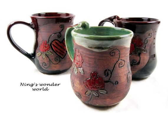 Large Coffee Mug Handmade Pottery Ceramic By Ningswonderworld 40 00