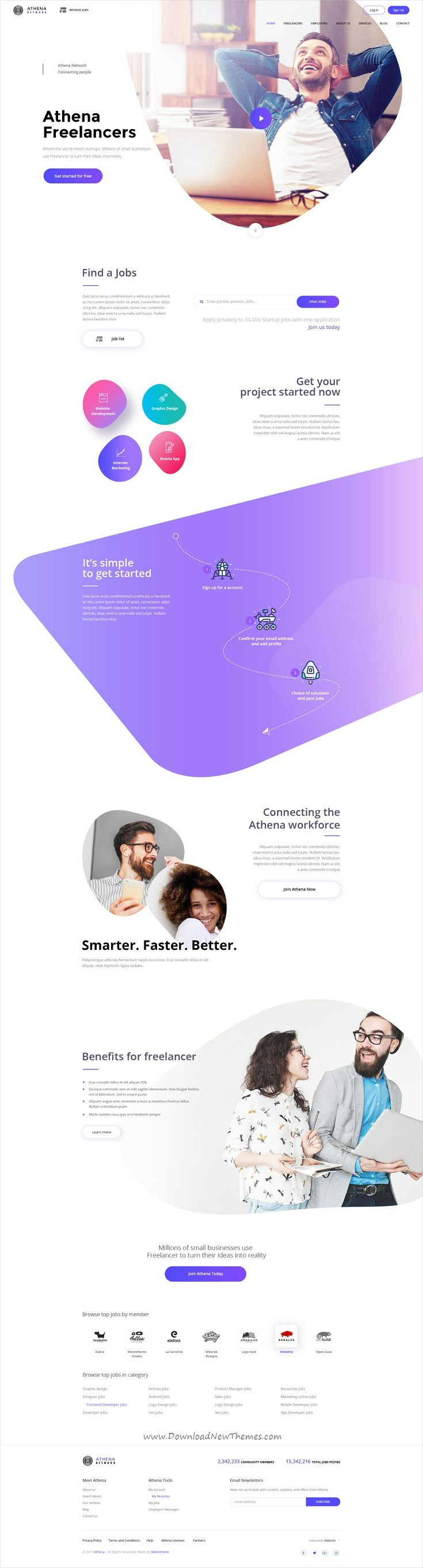 Athena is clean and modern #design PSD template for Freelancer and #Employers Jobs #Search website with 44 layered PSD pages download now..