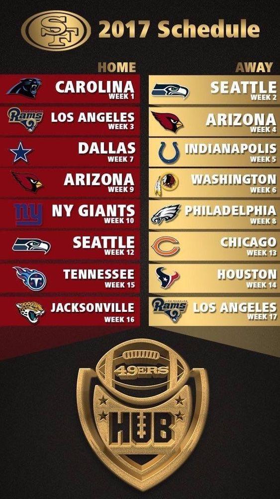 2017-18 SAN FRANCISCO 49ERS PRO NFL FOOTBALL SCHEDULE FRIDGE MAGNET (LARGE 4X5)