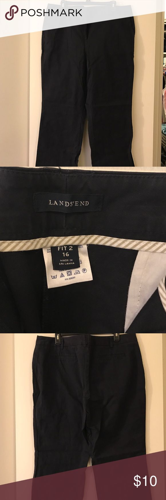 Navy dress pants Navy dress pants- never worn Lands' End Pants Boot Cut & Flare