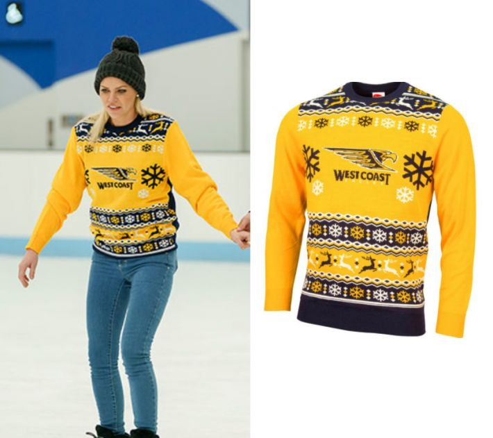 Sophie Monk wears this yellow AFL West Coast Eagles snowflake printed sweater in this episode of The Bachelorette on Thursday the 19th of October 2017. It is the West Coast Eagles Mens Ugly Sweater.