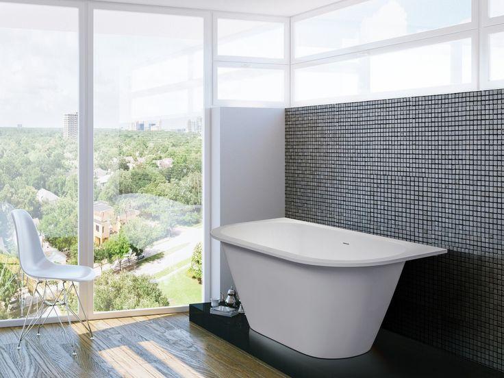 Aquatica Inflection B-W-Wht Back To Wall Cast Stone Bathtub