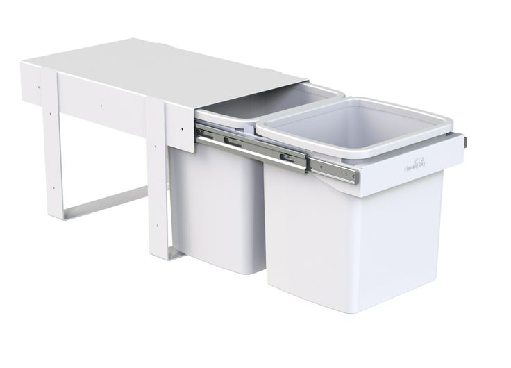 Hideaway Compact model: KCF215SCH. Double 15L buckets, handle pull. Floor mounted. A quality and robust under the sink solution. Fits a standard supermarket shopping bag. Great for rubbish or recycling in the kitchen.