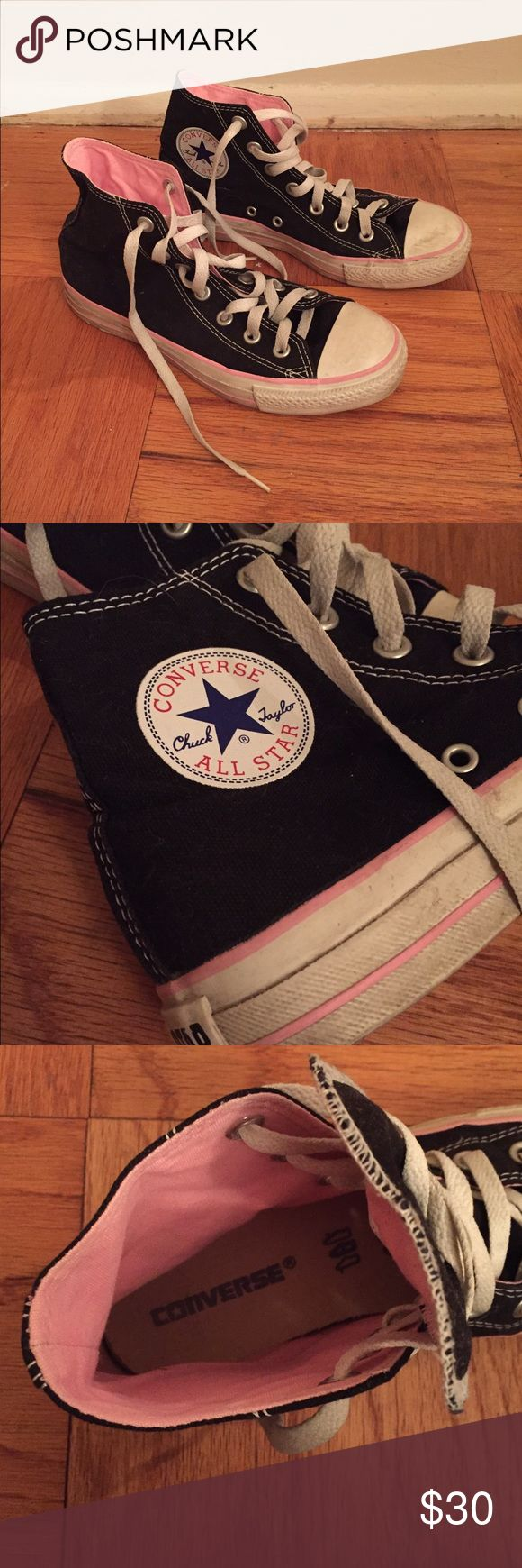 Women's Chuck Taylor Converse High Tops Chuck Taylor Converse High Tops with light pink accents. Vintage all-star style. Converse Shoes Sneakers