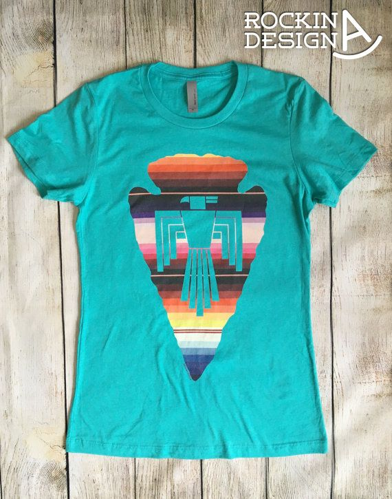 Thunderbird arrowhead southwestern graphic t by RockinAdesign  graphic tee Rockin A Design t shirt turquoise cowgirl western rodeo native american serape arrowhead southwestern