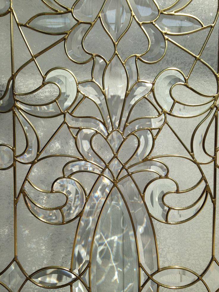 """Vitral en cañuela de bronce/latón 3/16"""" con vidrio biselado y Artíque."""