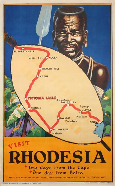 Vintage poster to visit Rhodesia, now Zimbabwe. Travel to Zimbabwe with INSPIRATION ZIMBABWE, your boutique Destination Management Company (DMC) for all inbound travel to Zimbabwe, Africa. INSPIRATION ZIMBABWE is a member of GONDWANA DMCs, a network of boutique DMCs across Africa and beyond. www.gondwana-dmcs.net
