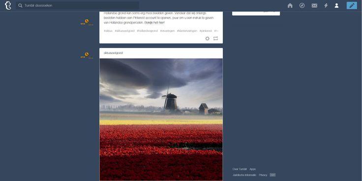 Bij AKTUA Vastgoed werken we hard en zijn we erg actief. Niet alleen offline, maar ook online. Wij hebben ons eigen Facebook en Twitter account waarmee we geïnteresseerden, klant of geen klant, dagelijks op de hoogte houden van ontwikkelingen in Nederland op het gebied van vastgoed.   Hollandse grond kan soms erg mooi beelden geven. Veel beelden van deze beelden delen we op Pinterest, maar we zijn ook op Tumblr actief, bekijk het hier: http://aktuavastgoed.tumblr.com/