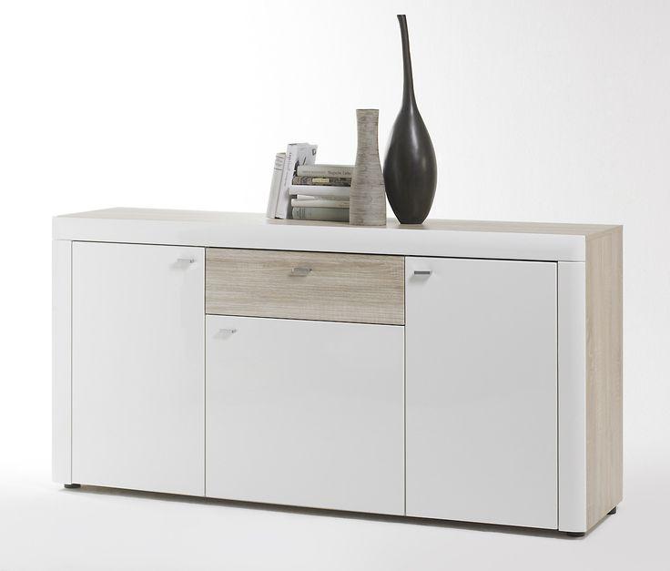 Sideboard Weiss Hochglanz/ Sonoma Eiche Nachbildung Woody 153 00175 Modern  Jetzt Bestellen Unter: ...