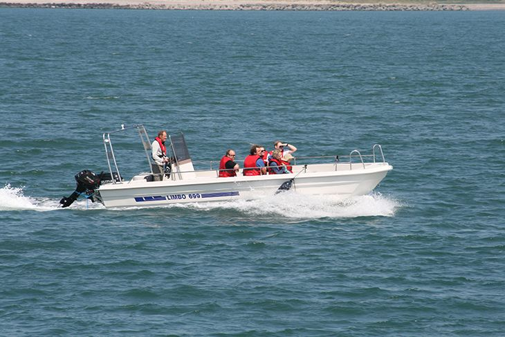 JyllandsAkvariet's new boat on the way to a seal safari. It has windows in the bottom.