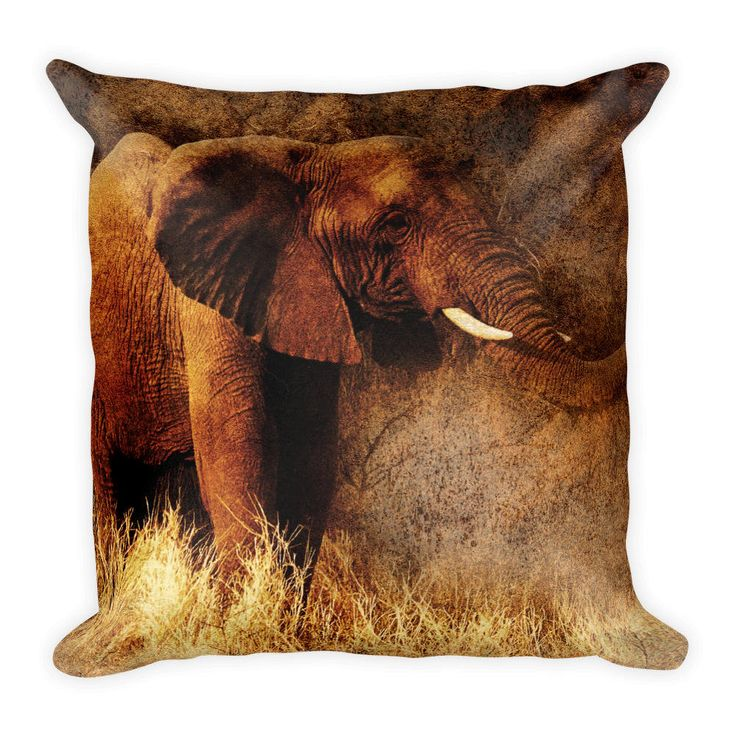 Excited to share the latest addition to my #etsy shop: African Elephant, Best Pillow Gifts, 18x18 Throw Pillow with Elephant, Elephant Gift, Elephant Cushion, Animal Gifts For Her http://etsy.me/2EqkM93 #housewares #pillow #brown #birthday #no #elephant