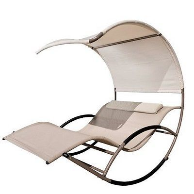 Rocking Chaise Lounge Chair Patio Lounging Pool Outdoor Yard Furniture Relaxing