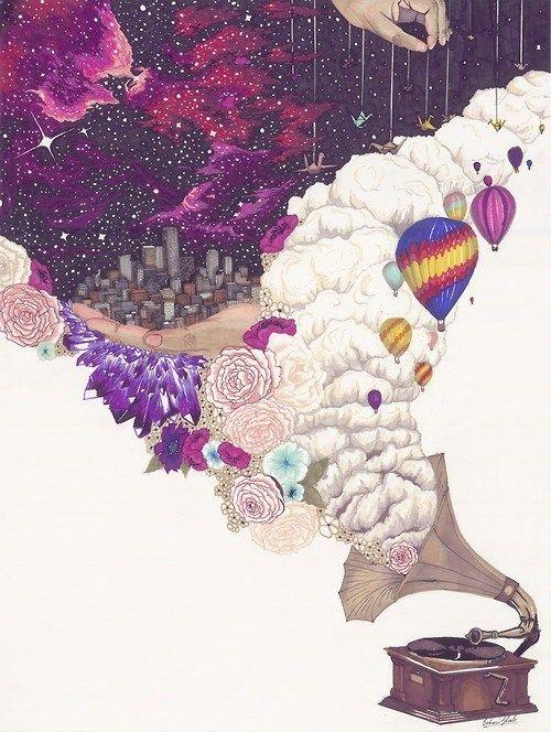 Selon moi cette oeuvre est fait au crayons de bois. Les couleurs sont chaudes, car les teintes se situent dans le mauve et un peu dans le rouge. En observant cette oeuvre, je déduis que lartiste à voulu représenter ou nous faire comprendre que la musique peut nous emporter dans un monde imaginaire que nous pouvons nous même créer. Jaime cette oeuvre car je trouve quelle me représente car lorsque jécoute de la musique, celle-ci memporte avec elle. More