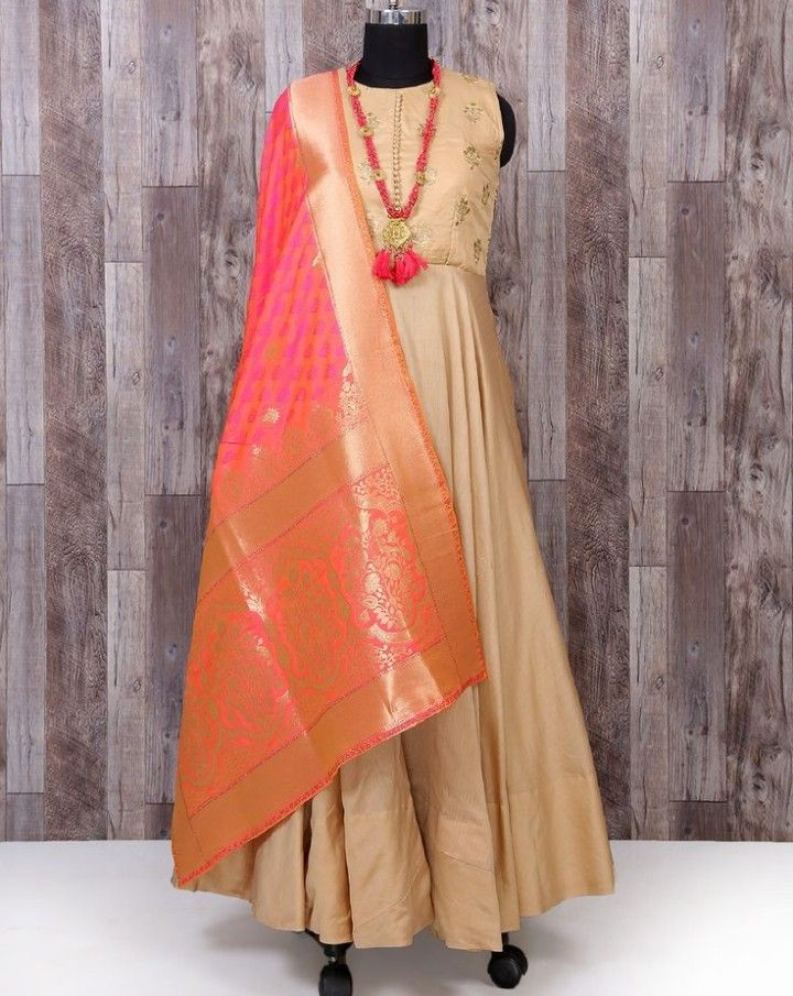 0856e91624aaf Silk Gown with Banarasi dupatta. | Indo-Western Gown & Dresses in ...