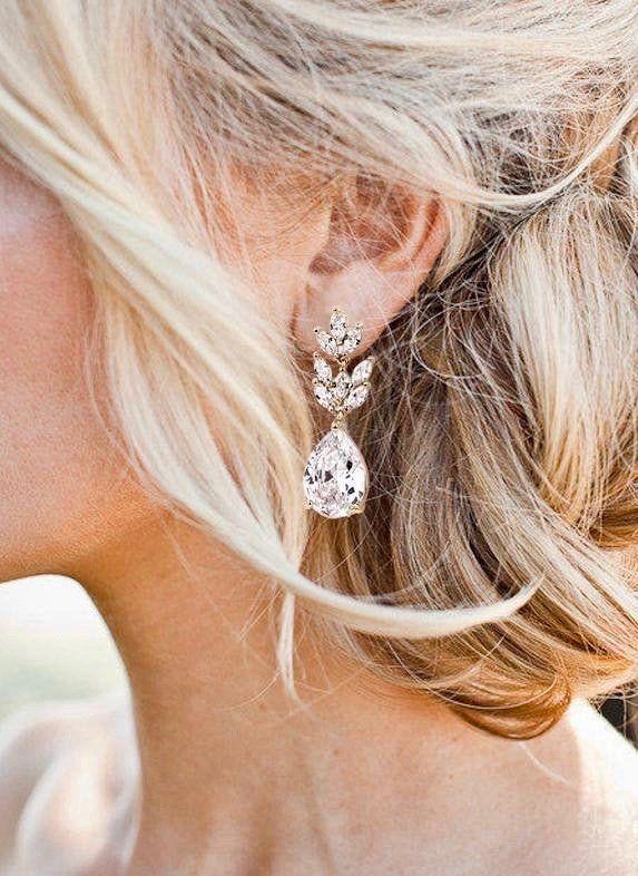 Crystal Bridal Earrings Drop Earrings Rose Gold Wedding Jewelry Crystal Tea Drop Earrings Gold Bridal Jewelry Silver Bridal Earrings In 2020 Rose Gold Wedding Jewelry Bridal Earrings Drop Silver Bridal Earrings